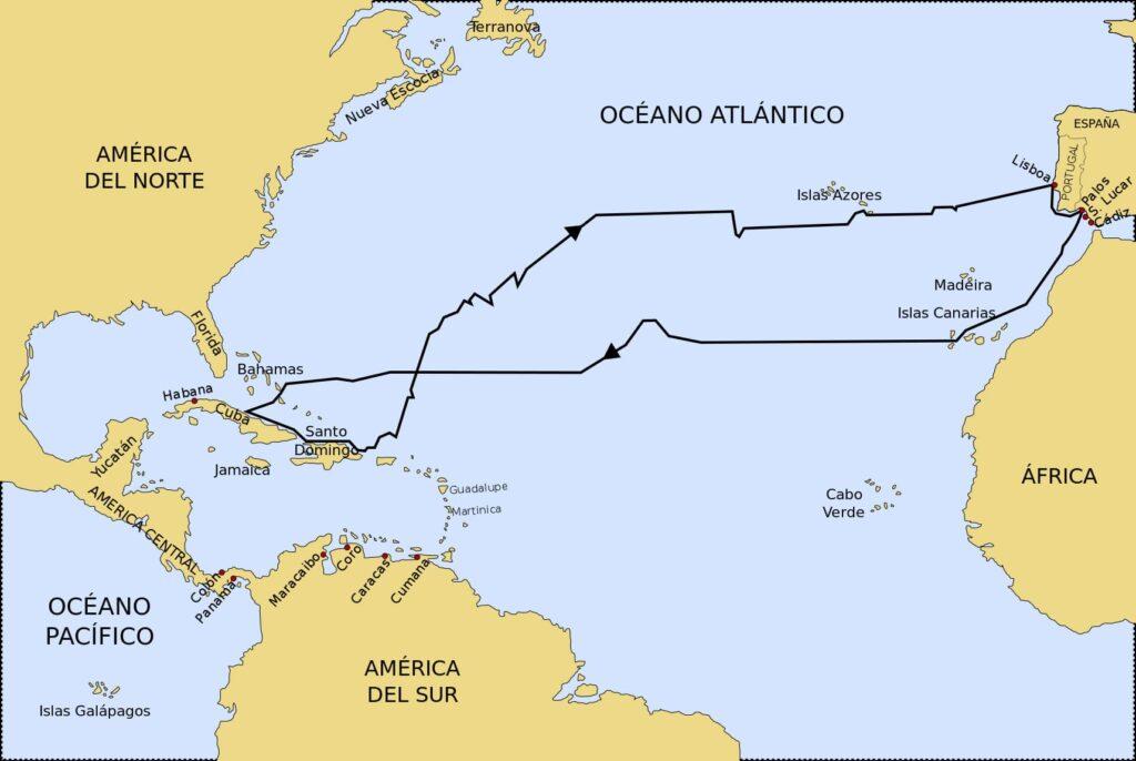 ruta del primer viaje de Cristóbal Colón a América