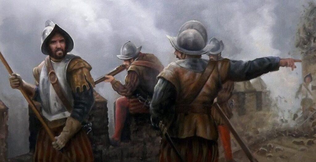 Soldados de los Tercios españoles defendiéndose de un ataque enemigo